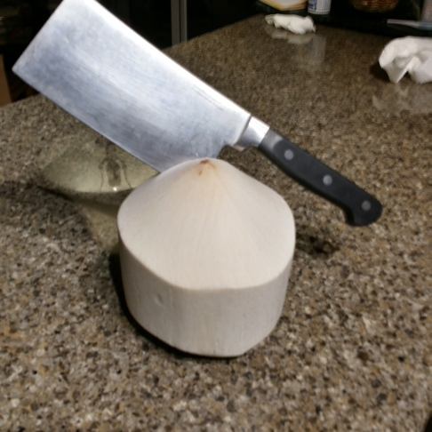 How to cut open Coconut with a Meat Cleaver